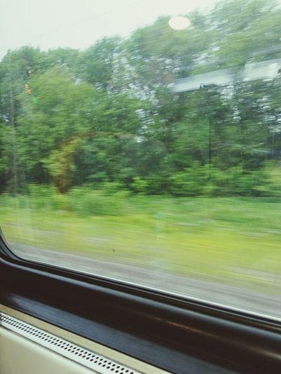 Blurred motion of train seen through window