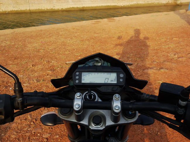 Beats of a traveller. Black Close-up Focus On Foreground Front View Human Meets Technology Land Vehicle Mode Of Transport Motorcycle Outdoors Parked Shadow Speedometer Sunlight Technology Transportation Travel Traveling