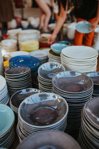 Full frame shot of pottery for sale at market stall