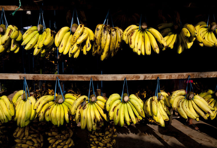 Low angle view of bananas for sale at market