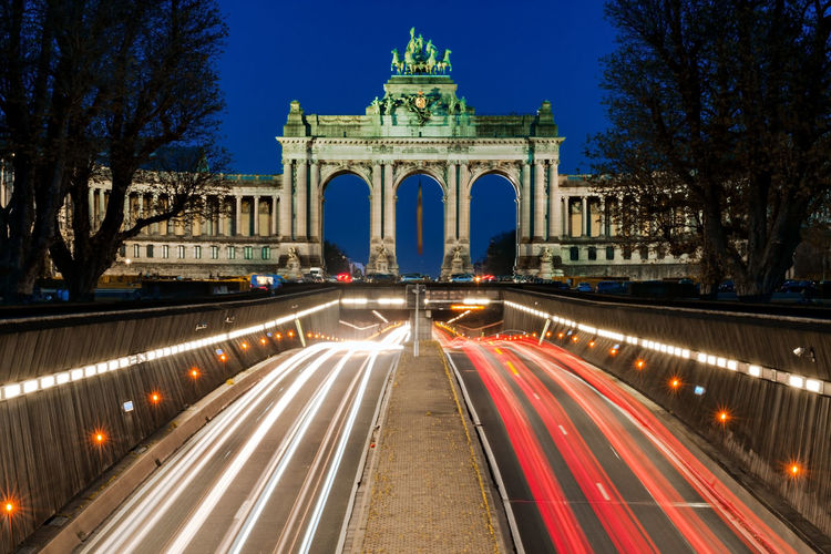 Arcade du Cinquantenaire at Night - Brussels Cinquantenaire Cinquantenaire Park Brussels Monument Monuments Landmark Long Exposure Blue Hour Night Nightphotography Light Trail Brussels Bruxelles Belgium Arcade Du Cinquantenaire National Monument War Memorial Triumphal Arch Traffic EyeEmNewHere