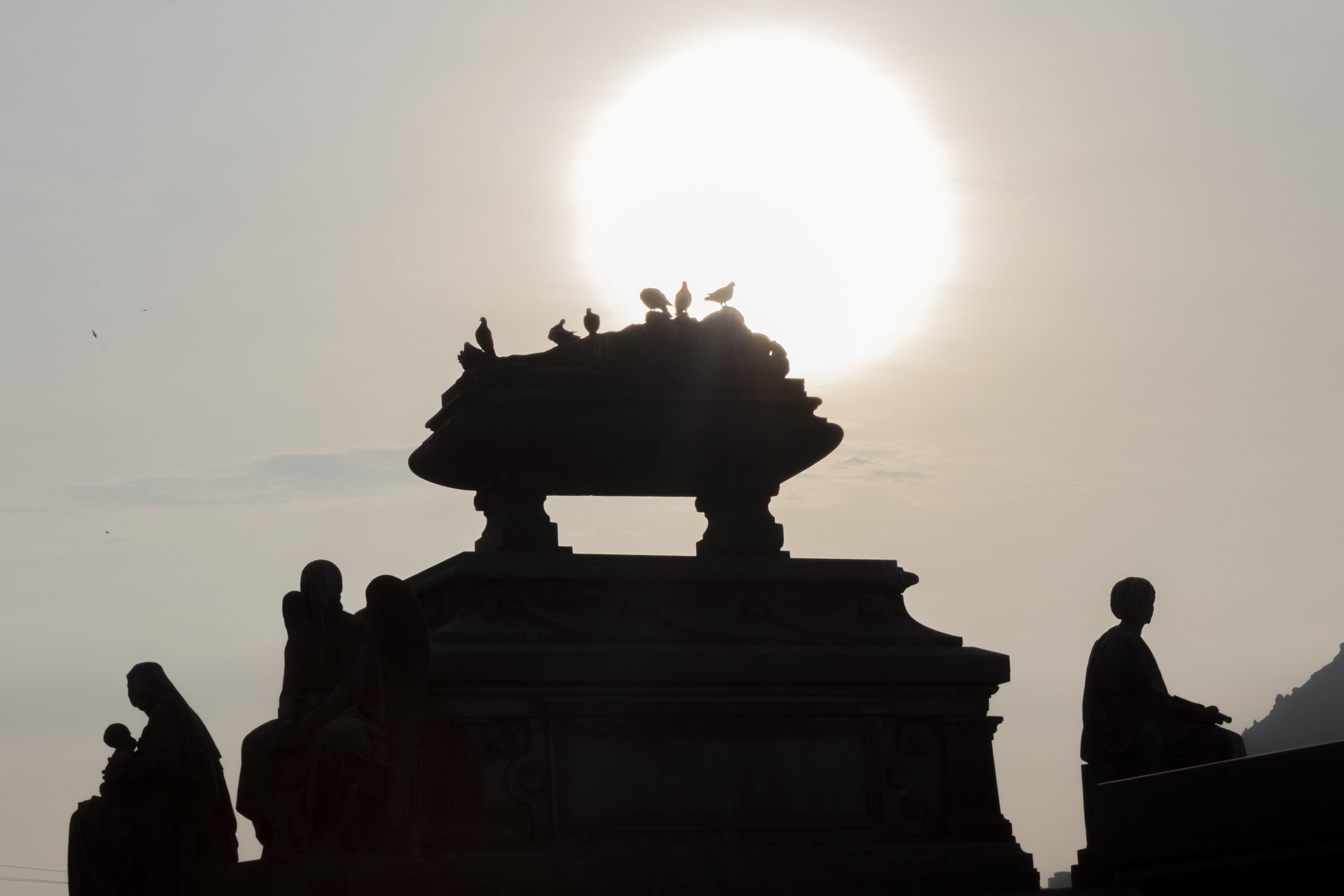 sky, statue, sculpture, architecture, silhouette, art and craft, the past, history, human representation, nature, travel destinations, representation, creativity, sunset, built structure, tourism, travel, sun, craft, no people, outdoors