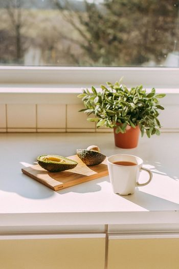 Breakfast Coffee Morning Avocado Close-up Day Food Food And Drink Freshness Growth Healthy Eating Indoors  Nature No People Plant Potted Plant Table