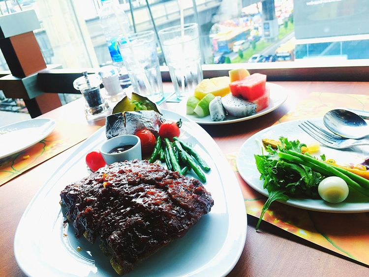 ribeye stake with salad Ribeye Steak Stake Salad Dinner Ready-to-eat Food Plate Food And Drink Freshness Table Serving Size Healthy Eating Close-up Delicious Vegetable Sizzler Menu Eat Me...Now!