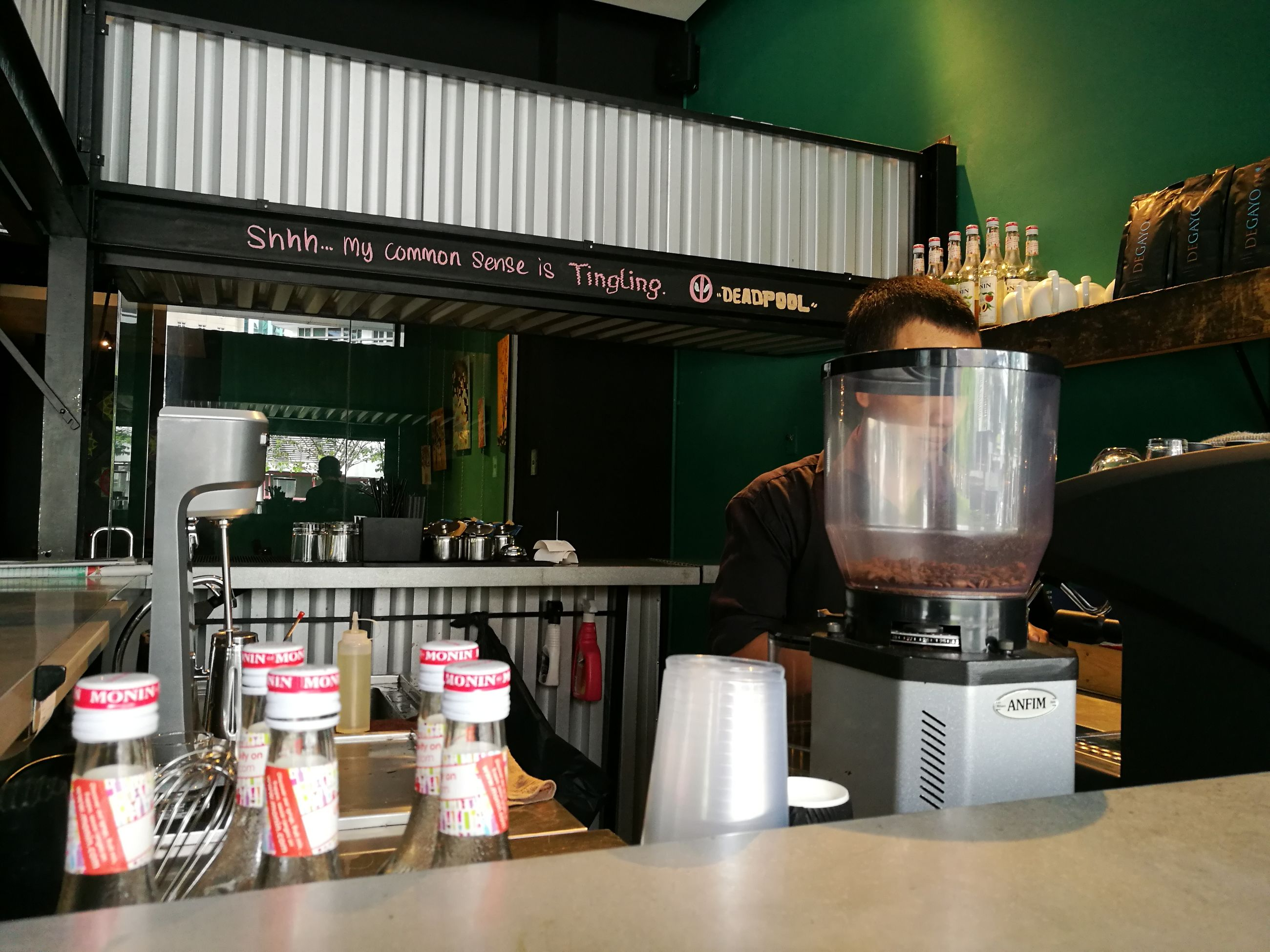 drink, indoors, bar counter, food and drink, business finance and industry, table, food and drink industry, no people, espresso maker, day