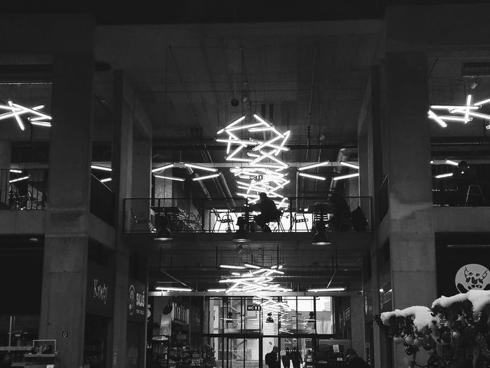 Illuminated Indoors  Architecture Lights Shadow Shadows & Lights Cafe Cafeteria Blackandwhite