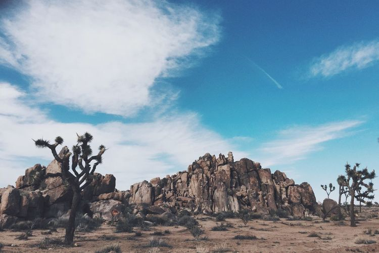 Rock formation on desert against sky in joshua tree national park