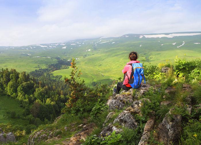Full length of man on mountain against sky