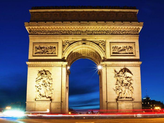 Paris Citylights Citylights Paris Architecture Illuminated Arch Built Structure Monument Low Angle View Night Triumphal Arch City Travel Destinations Tourism Travel The Street Photographer - 2018 EyeEm Awards