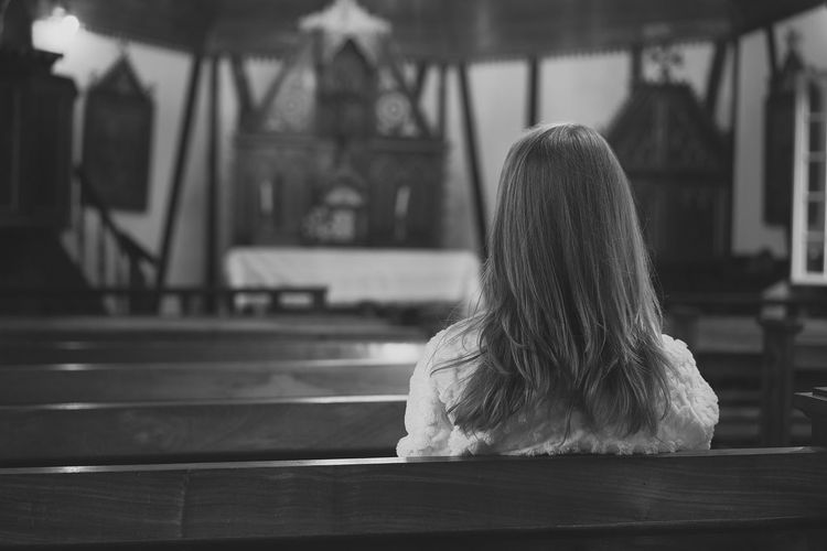 A small chapel Architecture Day Focus On Foreground Indoors  Lifestyles Long Hair One Person People Real People Rear View Sitting Women Young Adult Young Women