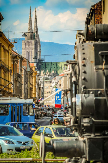 Zagreb in one pictrure Cathedral Steam Locomotive Tram City Street Zagreb Zagreb, Croatia Hrvatska Croatia Croatia🇵🇾 Croatian_photography Croatia ❤ Croatiafulloflife Croatia ♡ Water City Sky Architecture Building Exterior