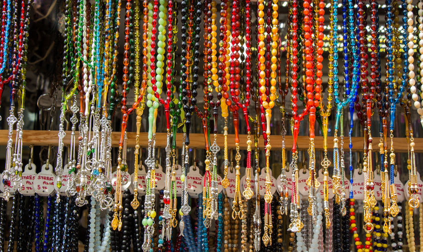 Close-Up Of Colorful Necklace For Sale In Market