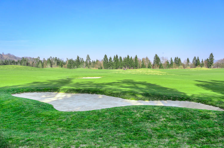 Sand bunker on the golf course. Sand trap Ball Blue Club Day Golf Golf Golf Ball Golf Club Golf Course Golf Course Golf Flag Golfer Golfing Grass Grass Green Green - Golf Course Green Color Nature No People Outdoors Putting Green Slovenia Stick Tree