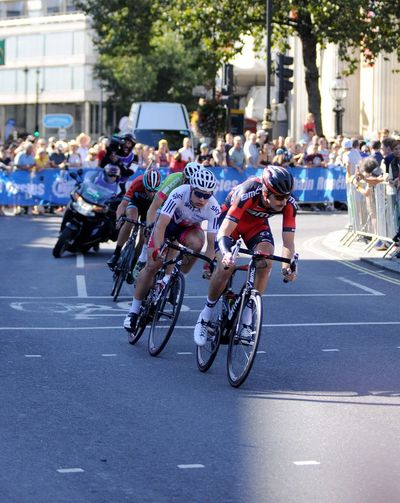 Taylor Phinney leads the breakaway Tour Of Britain Pro Cycling Cycle Racing London Sports Photography Bicycle Sports Taking Photos