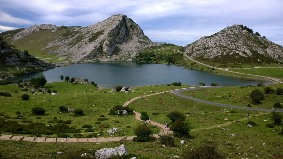 Lakes Of Covadonga And Mountains Against Sky