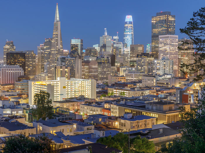 Dusk over san francisco financial district as seen from russian hill