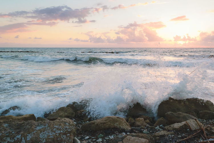 Beauty In Nature Evening Golden Hour Horizon Over Water Motion Nature No People Outdoors Power In Nature Scenics Sea Sky Sunset Tranquil Scene Tranquility Water Wave Live For The Story The Great Outdoors - 2017 EyeEm Awards Copy Space Backgrounds Bliss