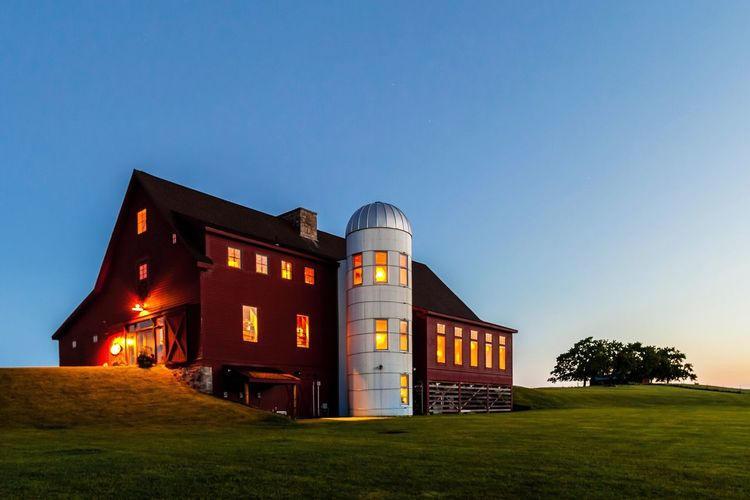 At the break of dawn at Groton Hill Farm First Light Of The Day Morning Light Sunrise Farm Farm House Built Structure Architecture Clear Sky Blue No People Building Exterior Silo