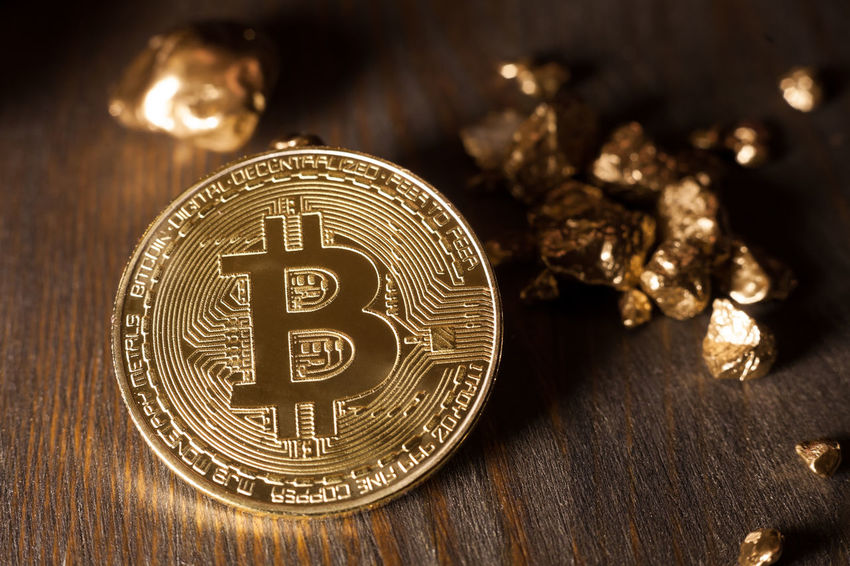 bitcoin and golden nuggets Golden Nuggets Treasure Bitcoin Business Close-up Coin Compared Cryptocurrency Displayed E-business Exchange Finance Financing Gold Indoors  Metal Shiny Symbol Table Technology Token Trade Wealth Wood - Material