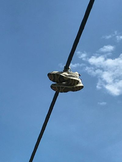 Blue Sky Clear Sky Day Outdoors Hanging Sneakers Wires In The Sky Low Angle View