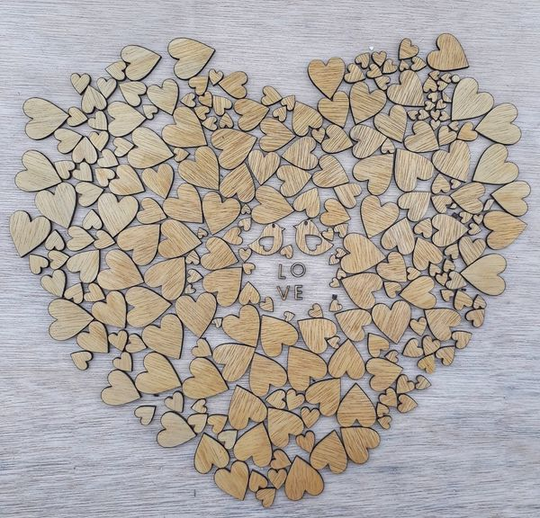 Heart Shape Large Group Of Objects No People Textured  Close-up Abundance Pattern Studio Shot Love Lovepiece Woodword Woodpieces Alphabet Wood - Material