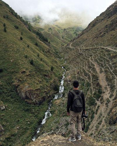 Man hiking on mountain