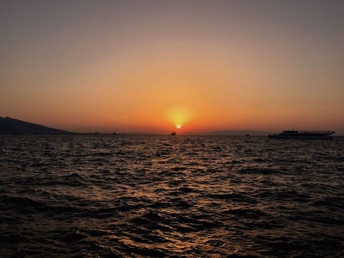 Sunset Sea Water Scenics Beauty In Nature Orange Color Nature Clear Sky Majestic