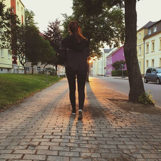 One Person Cobblestone Rear View Full Length Walking Casual Clothing Young Adult Leisure Activity Outdoors Real People Tree Young Women First Eyeem Photo