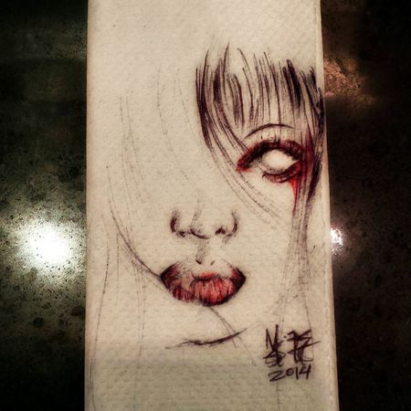 drew this doodle at work out of boredom. Please do enjoy. Today's Hot Look Sound Of Silence MistAke_Arts Portrait
