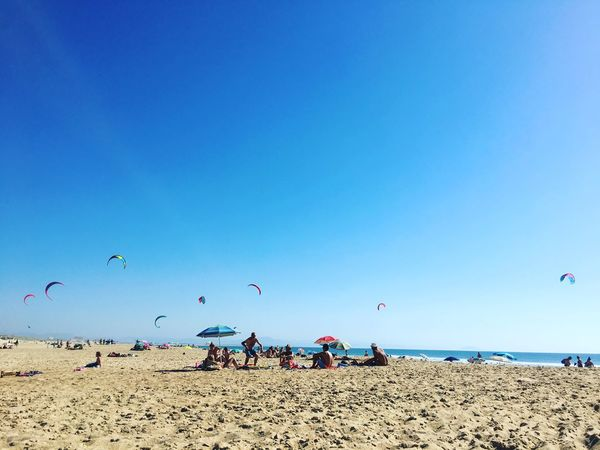 Beach Beauty In Nature Blue Clear Sky Copy Space Day Flying Horizon Over Water Kite - Toy Large Group Of People Leisure Activity Lifestyles Men Mid-air Nature Outdoors Real People Sand Scenics Sea Sky Togetherness Tranquil Scene Vacations Water