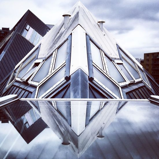 Rombus Shape Shapes Grey Industrial Triangle Roof Grey Sky Blue Window Reflection Glass Building Building Exterior Glass - Material Symmetry Symmetrical