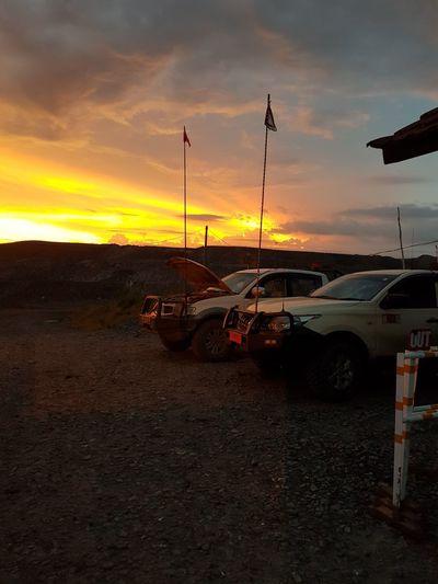 Senja #Sunset #mining #miningoperation #lowvehicle Mining Senja  Langitsenja Langitsore Sunset Car Sky Cloud - Sky Parking First Eyeem Photo EyeEmNewHere