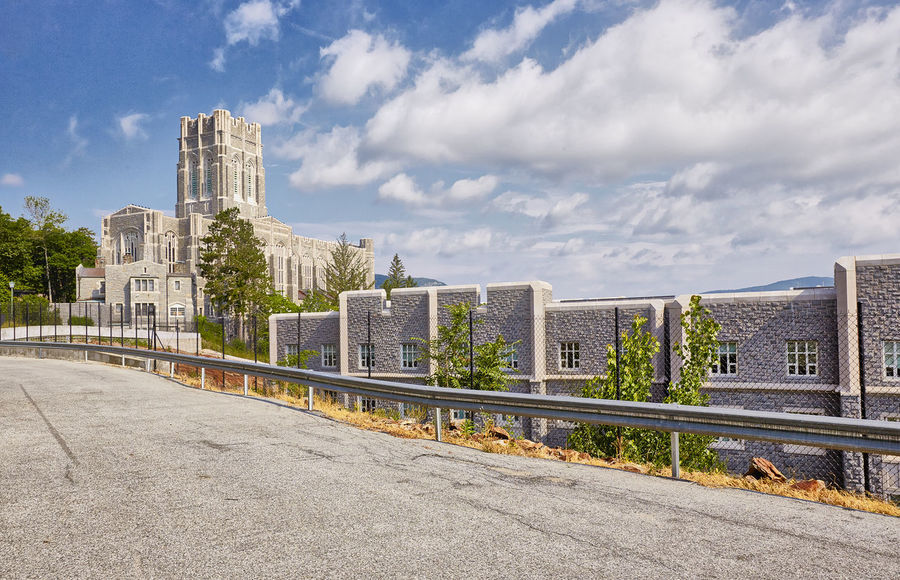Cadet Chapel at West Point Cathedral Chapel Worship Architecture Building Building Exterior Built Structure City Cityscape Cloud - Sky Day Modern Multiple Lane Highway Nature No People Office Building Exterior Outdoors Plant Road Sky Skyscraper The Way Forward Transportation Tree Urban Skyline
