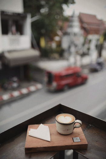 Close-up of coffee on table at cafe