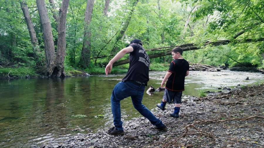 River Riverwalk River Walk Rivertrail River Trail Skipping Rocks Rocks Pebbles Little Brother  Love Family Nature United By Nature