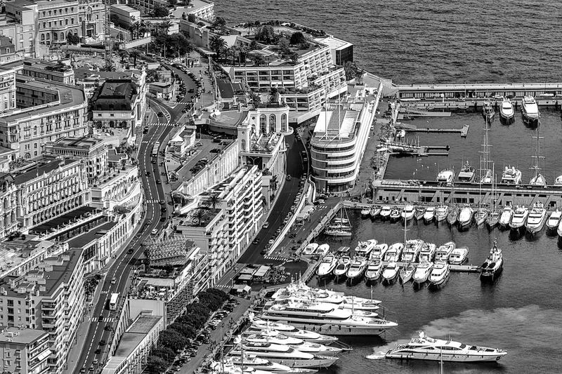 High angle view of city buildings in monaco