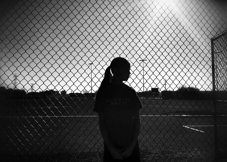 Soccer Life EyeEm Best Shots Shootermag Blackandwhite Bw_collection Silhouette Chainlink Fence Hidden Gems