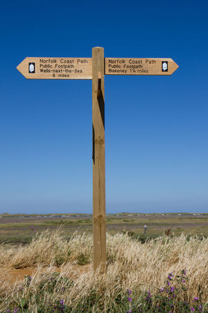 Blue Sky Clear Sky Communication Direction Field Footpath Sign Guidance Landscape Norfolk Coast Path Norfolk Costal Path Outdoors Sand Dune Sign Blakeney Blakeney National Nature Reserve Blakeney Harbour Blakeney Norfolk Uk Wells-next-the-Sea