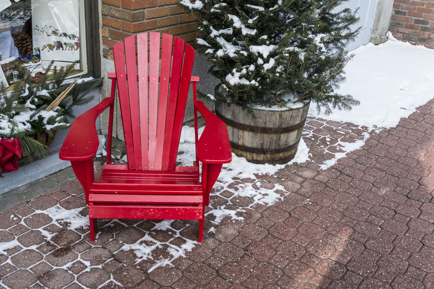 Red Adirondack Chair Adirondack Chairs Brick Brick Pavers High Contrast Red Red Chair Snow Spruce Storefront Wood