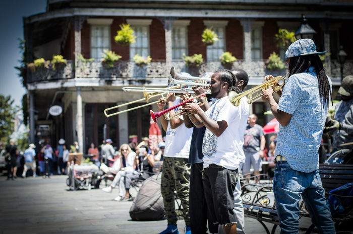 Street performers in New Orleans Band Brass Brass Band Creole Culture Day Explore Flair Friendship Louisiana Music Musicians New Orleans New Orleans, LA Real People Side View Soul Standing Street Street Performance Street Performer Togetherness Travel Trumpet Urban