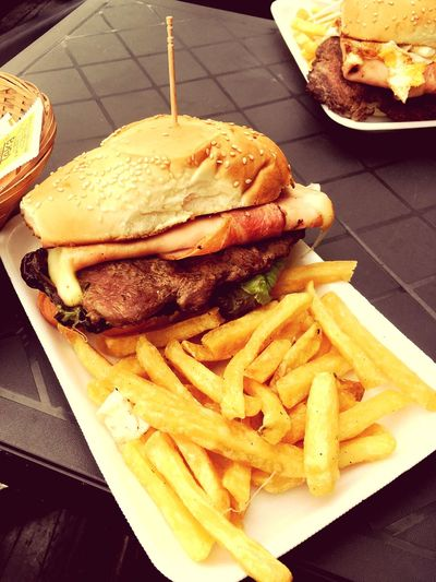 Chivito Chivito Uruguayo French Fries Food And Drink Unhealthy Eating Food Prepared Potato Ready-to-eat Burger Fast Food Plate Close-up Deep Fried  Temptation Take Out Food