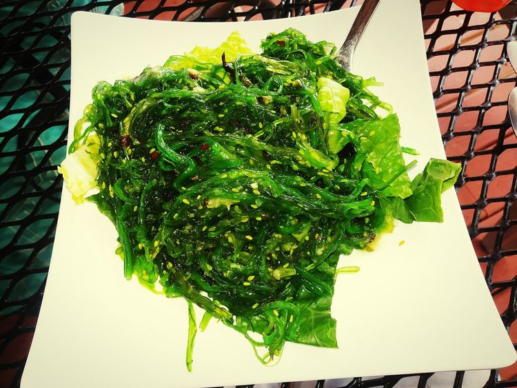 Seaweed salad from the captain jack restaurant. Vegetable Food And Drink High Angle View Green Color Healthy Eating Food Leaf No People Freshness Directly Above Herb Day Close-up Seaweed Seaweed Salad Garlic Sauce Seaweedsnack Chinese Restaurant Yummy ♡