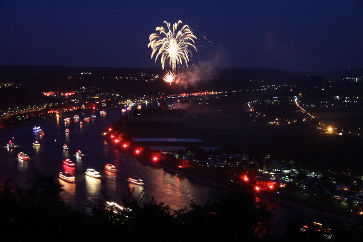 Rhein in Flammen Arts Culture And Entertainment Building Exterior Celebration City Cityscape Event Exploding Firework Firework - Man Made Object Firework Display Glowing Illuminated Long Exposure Motion Multi Colored Night No People Outdoors Sky
