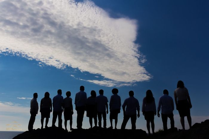 Silhouette Togetherness Cloud Standing Sky Person Friendship Group Of People Relaxation Tranquility Blue Calm Nature Tranquil Scene Cloud - Sky Outdoors Escapism Sun Solitude Outline