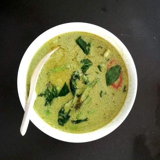 Green curry, Directly Above Freshness Beverage High Angle View Soup Green Color Appetizer Thailand Cuisine Serving Size Meal Overhead View Beverage Bowl Ready-to-eat Foodphotography PhonePhotography