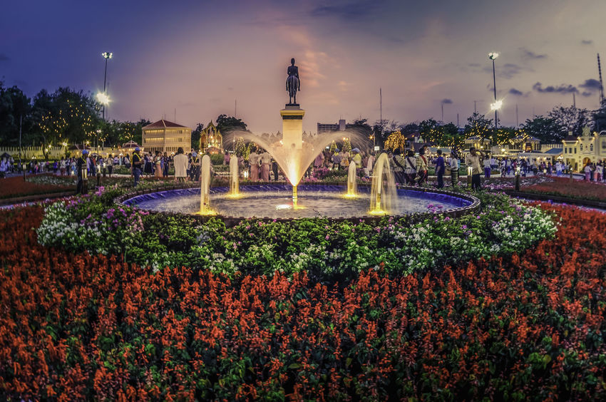 King Rama 5 statue, Bangkok ASIA Bangkok King Statue Thailand Architecture Built Structure City Fountain History Illuminated Long Exposure Night No People Outdoors Travel Travel Destinations Water