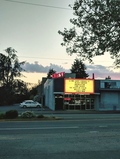 Cinematic Retro Marquee Marquee Theater Theatre Movies Film Twilight Neon Crash Road Road Sign City Text Street Sky Architecture
