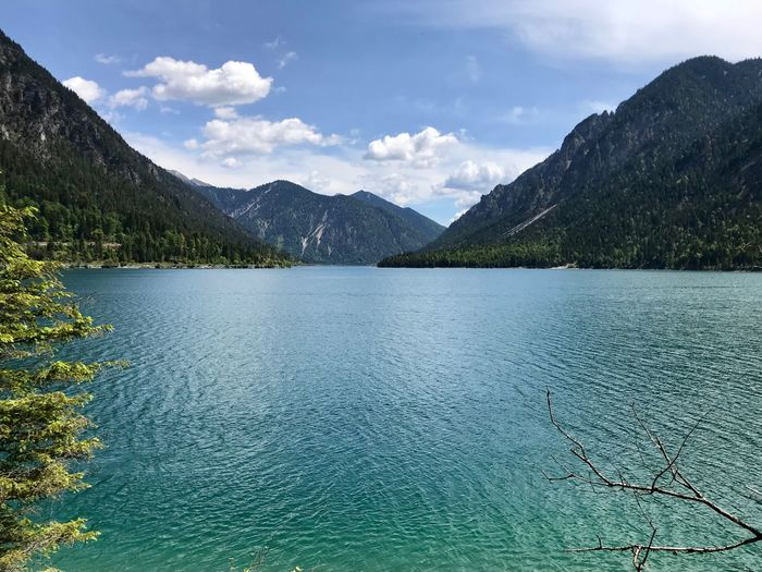 View on Plansee in Tyrolia Water Mountain Scenics - Nature Beauty In Nature Sky Tranquil Scene Cloud - Sky Mountain Range Idyllic Lake Tranquility Nature No People