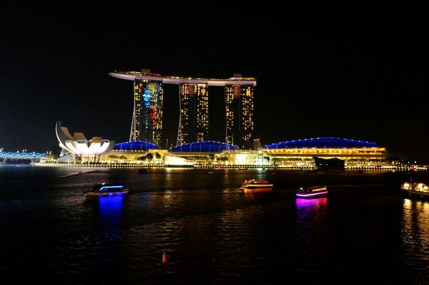 Singapore Night Lights Riverside Boats Lanscape Beautuful Romantic Landscape Romantic Place