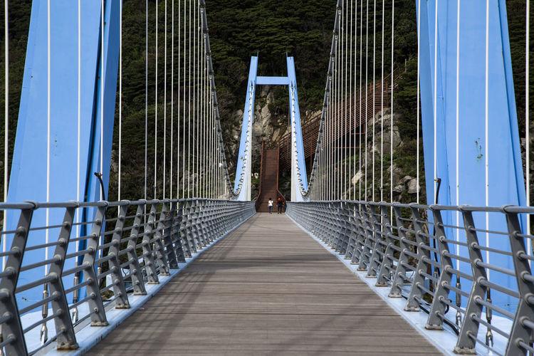Mid Distance View Of People Walking On Footbridge
